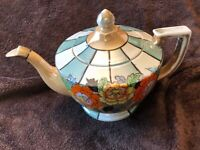Vintage TT Handpainted Teapot Made in Japan Gold Trim 7 in tall