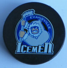 Vintage Evansville Icemen CHL Official Hockey Puck Old Central League defunct