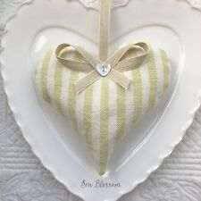1 SUSIE WATSON GREEN IVORY STRIPE Lavender Filled Fabric Heart GREEN PINSTRIPE