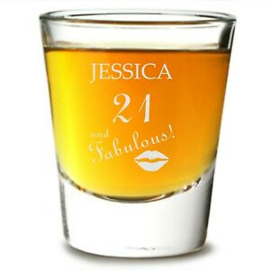 Personalised Birthday Shot Glass gift Engraved sister mum any age 18th 21st 30th