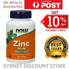 NOW Foods Zinc 50mg 250 Tablets  - 750 Tablets NEW Vegetarian Formula NEW