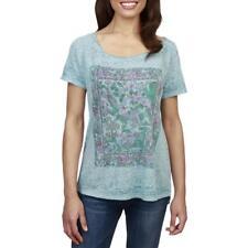 Lucky Brand Womens Shirt Blue Floral Gardens Slub Knit Raw Edge Top Medium