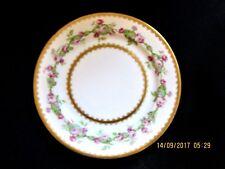 """LOVELY 7.5"""" HAVILAND LIMOGES FRANCE DESSERT PLATE PINK ROSES GARLAND GOLD TRIM M"""