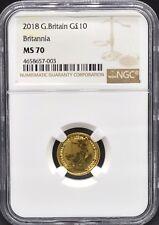 2018 Gold Britannia £10 MS70 NGC 1/10th oz Great Britain Ten Pound Top Pop