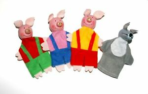 Three Little Pigs Wolf finger puppets, Story telling Nursery Rhymes Fairy tales