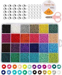 24000ps Mini Glasperlen 2mm DIY Armband Halskette Schmuck Machen Perlen Set
