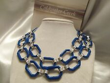 DISCONTINUED: CWC Pre-2014 Tow Tone Resin Necklace (SILVERtone & BLUE)