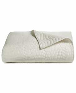 Hotel Collection Bedding Agate FULL/QUEEN Quilted Coverlet Ivory $300 H285