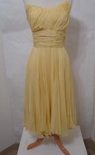 Vintage ERNEST NEWMAN Yellow Chiffon Silk Ruched Full Flared Skirt Dress XS