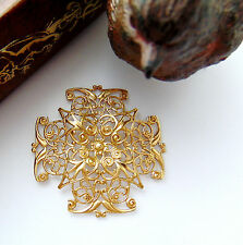 Ornament Brass Findings (Cb-3043) Brass Filigree Cross Stampings ~