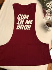 CuM IN ME BRO  Fitness Muscle Singlet Tank Top Gym Vest Sleeveless GAY int red L