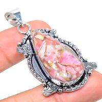 "Rhodochrosite Gemstone Ethnic Handmade Gift Jewelry Pendant 2.25"" VK-6229"