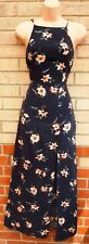 NEW LOOK NAVY BLUE PINK FLORAL STRAPPY 1 SPLIT SIDE SUMMER LONG MAXI DRESS 8 S