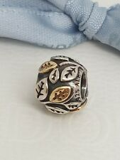 """Authentic Pandora Silver & 14k Gold  """"Tree of Life"""" Charm Retired - 790429"""