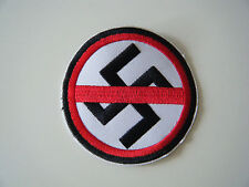 ANTI FASCIST PATCH Embroidered Iron On Nazi Swastika Badge Dead Kennedys NEW