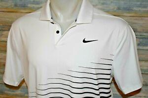 NIKE DRI-FIT Small Men's S/S Poly Spandex Golf Polo Shirt White Black Striped