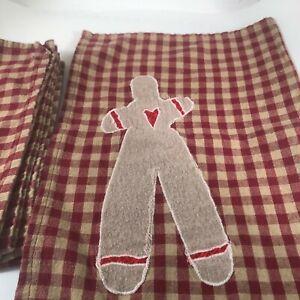 VTG Gingerbread Man Christmas Cloth Napkins Reddish Brown White Plaid Set of 4