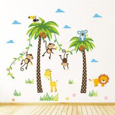 Wandtattoo Wandsticker Tiere Affe Giraffe Löwe Zoo Palme Baum Kinderzimmer XL