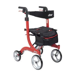 Drive RTL10266-T Nitro Euro Style Walker Rollator, Tall, Red