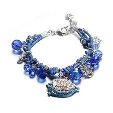 NEW 925 Silver Plated Multi-Strand Tinkerbell Ocean Blue Series Charm Bracelet