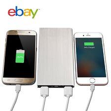 Silver Portable 10000mAh External Power Bank USB Battery Charger Mobile Phone