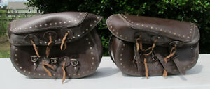 Vintage HEAVY DUTY Leather Motorcycle Saddlebags Harley/Indian Stumped 20x15 yqz