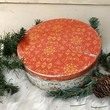 VTG Fruitcake Cookie Tin Snowflake Graphics Red Gold Metal Canister Xmas Biscuit