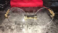 CARTIER Eye-wear Wood grain Gold Circle Lens Eyeglass Frames Glasses GOLD