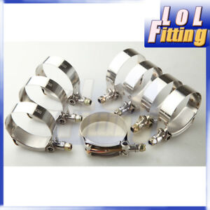 """8pc 1.75"""" Turbo Pipe Hose Coupler T-bolt Clamps Stainless Steel 47-55mm"""