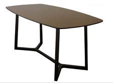 Elba 1650x880 Black Glass & Black Steel Dining Table - BRAND NEW