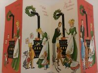 1950-60s UNUSED Vtg FAMILY & STOVE BUBBLING OVER 4 Fold CHRISTMAS GREETING CARD
