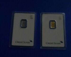 Credit Suisse 2 Lot Liberty Bullion Bars 1 gram each Platinum & Fine Gold Assay