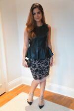 Zara Black & Nude Lace Print Stretch Wiggle Pencil Skirt Bloggers Size S