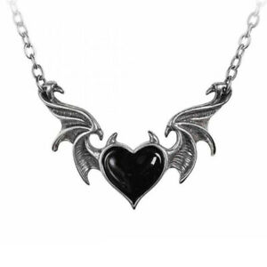 ALCHEMY BLACKSOUL BLACK DEMON HEART NECKLACE Gothic Devil Horns Wings Pendant