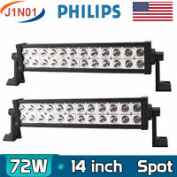 2X 14''IN 72W LED Work Light Car Truck Driving Fog SPOT Lamp 12V24V Boat PHILIPS