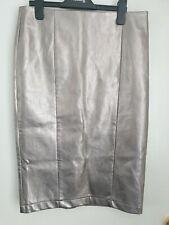 Size 10 Next Silver Faux Leather Pencil Midi Skirt