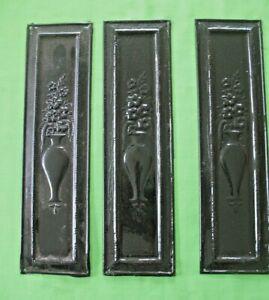 Set of 3 original old antique Victorian reclaim door handle finger push plates
