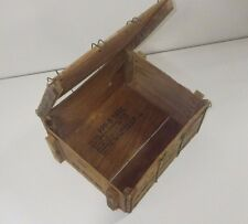 AMERICAN ORIGINAL WOODEN WIRE LOCK AMMO BOX MILITARY VINTAGE ANTIQUE 17 X 13 X 9