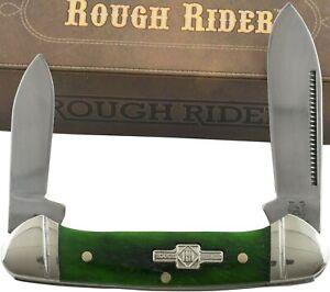 Rough Rider Green Peacock Mini Canoe Folding Pocket Knife RR057 Smooth Handles