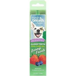TropiClean Fresh Breath Oral Care Gel for Dogs with Berry Flavouring No Brushing