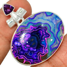Mexican Laguna Lace & Amethyst 925 Sterling Silver Pendant Jewelry AP192158