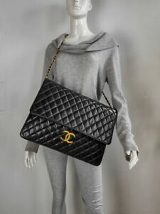 Vintage Chanel RARE XXL Huge Maxi Flap Bag Quilted Black Gold Chain CC