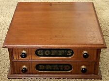Antique Goff's Braid Walnut Wood 2 Drawer Sewing Floss Spool Cabinet Victorian
