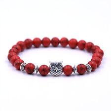 Fashion 8mm Natural Stone Buddha Cross Owl Head Reiki Beaded Stretch Bracelets