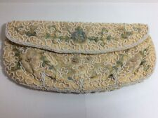 Vintage Embroidered Floral Beaded Cream Ivory Clutch Purse Made in Belgium