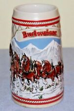 1985 Vintage Budweiser Holiday Beer Stein Mug Clydesdales Ceramarte A Series