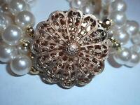 4 Strand cream 8mm Majorca knoted silk Pearl BRACELET Big gold filigree Clasp