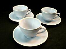 3 Copenhagen Aluminia Faience Sonja Light Blue Demitasse Cups & Saucers Denmark