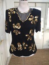 NWT Stenay Sequin Beaded Top Blouse 100% Silk Black Gold Mesh Scalloped Hem S