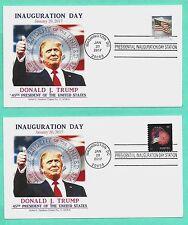 DONALD TRUMP 2017 INAUGURATION COVER SET/2 W/FLAG-FIREWORKS STAMPS, GRAEBNER